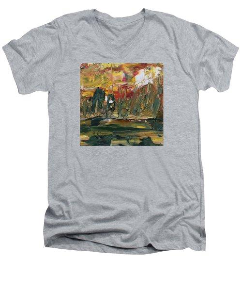 Turmoil Men's V-Neck T-Shirt by Alan Mager