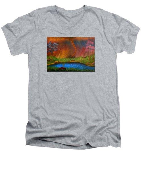 Turmoil Men's V-Neck T-Shirt by Sheri Keith