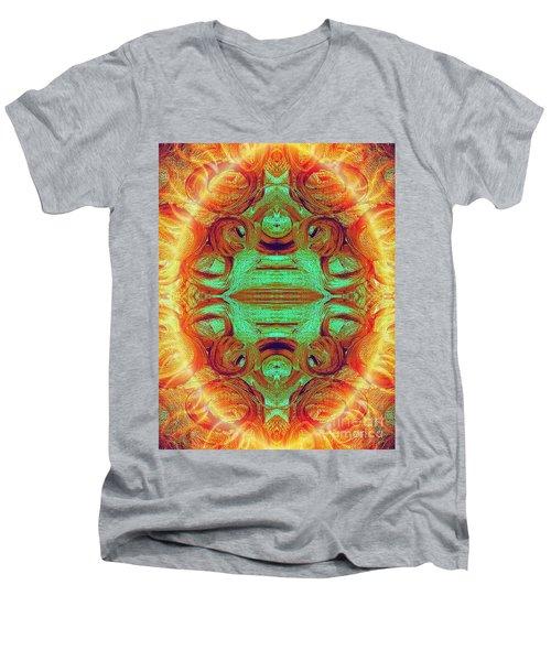 Turquoise Fire Men's V-Neck T-Shirt