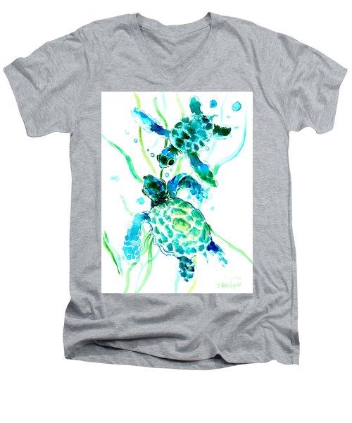 Turquoise Indigo Sea Turtles Men's V-Neck T-Shirt by Suren Nersisyan