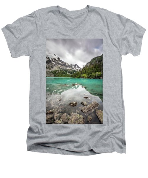 Turquoise Lake In The Mountains Men's V-Neck T-Shirt by Pierre Leclerc Photography
