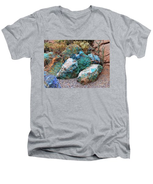 Turquoise Rocks Men's V-Neck T-Shirt