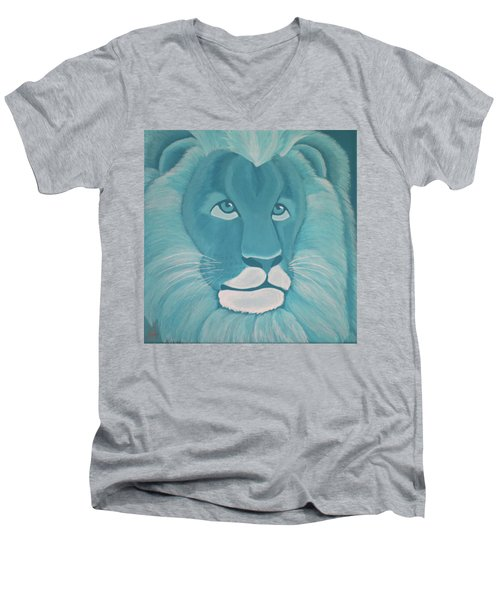 Turquoise Lion Men's V-Neck T-Shirt