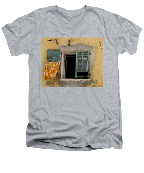 Turquoise Shuttered Window Men's V-Neck T-Shirt