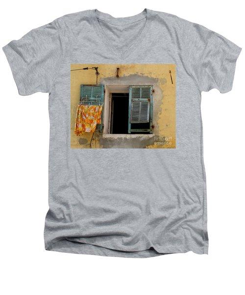 Turquoise Shuttered Window Men's V-Neck T-Shirt by Lainie Wrightson