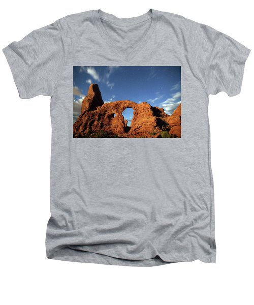 Turret Arch In The Moonlight Men's V-Neck T-Shirt