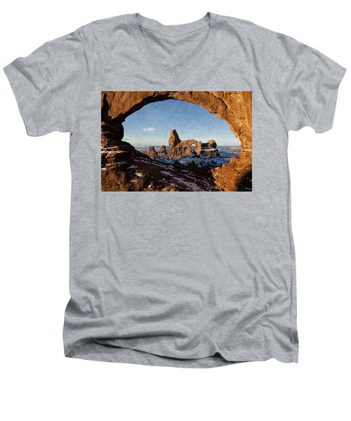 Turret Arch Men's V-Neck T-Shirt by Kai Saarto