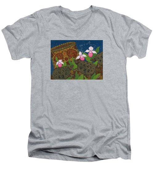 Men's V-Neck T-Shirt featuring the painting Turtle - Mihkinahk by Chholing Taha