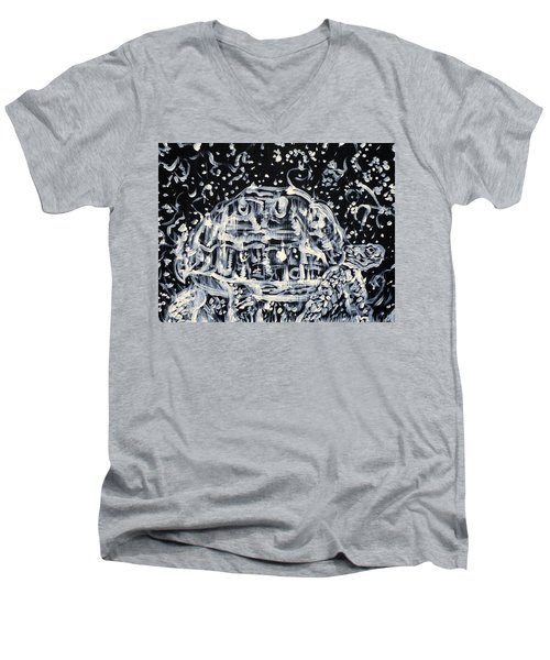Men's V-Neck T-Shirt featuring the painting Turtle Walking Under A Starry Sky by Fabrizio Cassetta