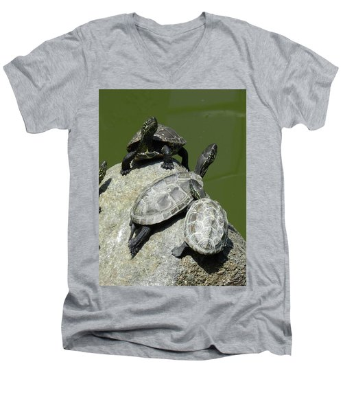 Men's V-Neck T-Shirt featuring the photograph Turtles At A Temple In Narita, Japan by Breck Bartholomew