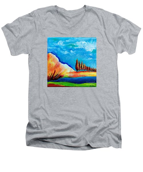 Tuscan Cypress Men's V-Neck T-Shirt by Elizabeth Fontaine-Barr