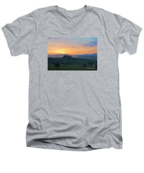 Tuscan Morning Men's V-Neck T-Shirt by Yuri Santin