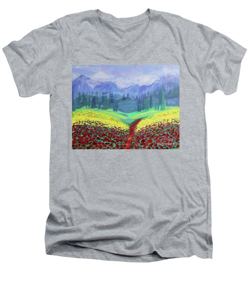 Tuscan Poppies Men's V-Neck T-Shirt