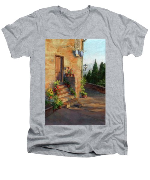 Men's V-Neck T-Shirt featuring the painting Tuscany Morning Light by Vikki Bouffard