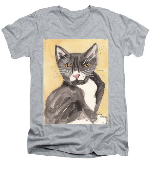 Tuxedo Cat With Attitude Men's V-Neck T-Shirt by Terry Taylor