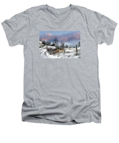 Twain's Barn Men's V-Neck T-Shirt by Ed Hall
