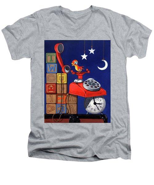Tweets -narrative Painting Men's V-Neck T-Shirt
