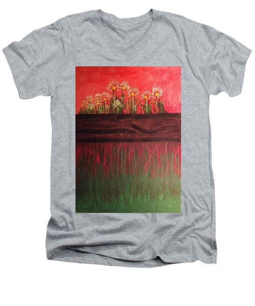 Twelve Daises In Window Box Men's V-Neck T-Shirt