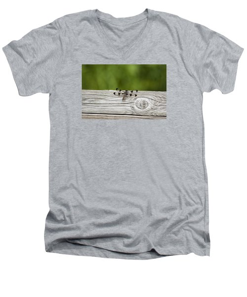 Men's V-Neck T-Shirt featuring the photograph Twelve Spotted-skimmer 20120703_213a by Tina Hopkins