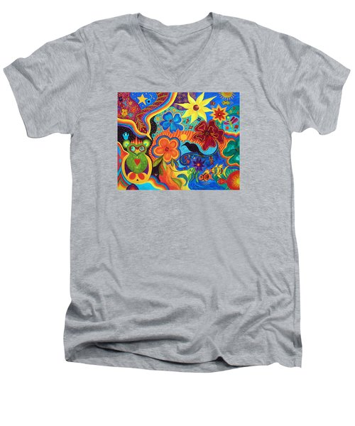 Men's V-Neck T-Shirt featuring the painting Bluebird Of Happiness by Marina Petro