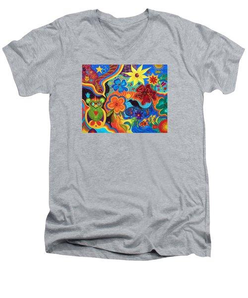 Bluebird Of Happiness Men's V-Neck T-Shirt by Marina Petro