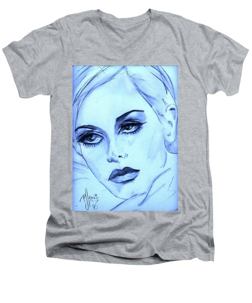Men's V-Neck T-Shirt featuring the painting Twiggy In Blue by P J Lewis