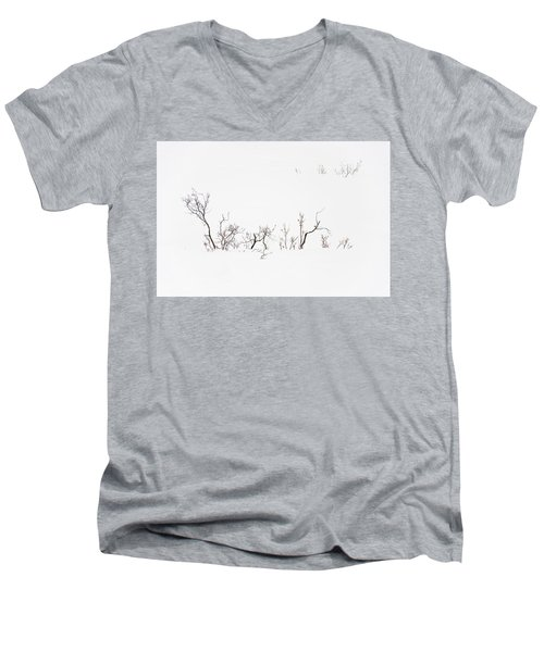 Twigs In Snow Men's V-Neck T-Shirt