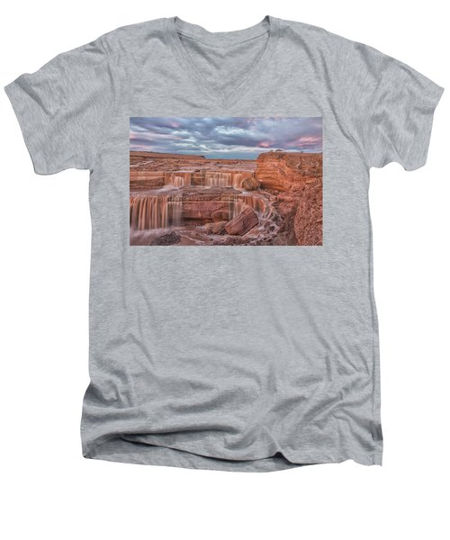 Twilight At Chocolate Falls Men's V-Neck T-Shirt by Tom Kelly