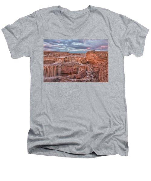 Twilight At Chocolate Falls Men's V-Neck T-Shirt by Tom Kelly