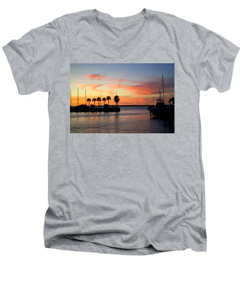 Twilight At The Marina Men's V-Neck T-Shirt