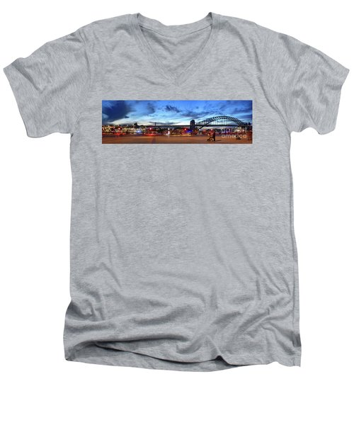 Men's V-Neck T-Shirt featuring the photograph Twilight By The Bridge By Kaye Menner by Kaye Menner