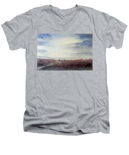 Twilight Settles On The Moors Men's V-Neck T-Shirt