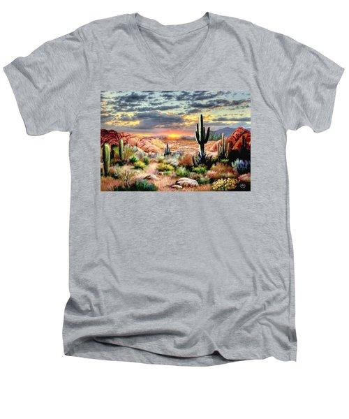 Twilight On The Desert Men's V-Neck T-Shirt by Ron Chambers