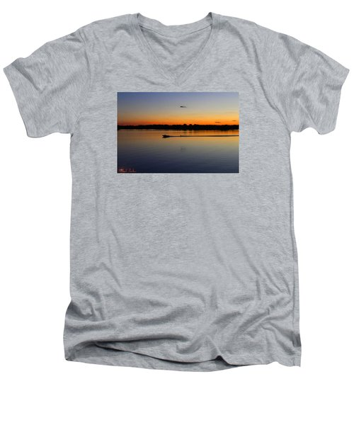 Men's V-Neck T-Shirt featuring the photograph Twilight Water Skiing by Michael Rucker