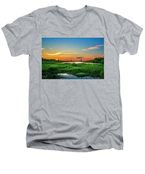 Men's V-Neck T-Shirt featuring the photograph Twilights Arrival by Marvin Spates