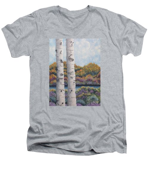 Twin Aspens Men's V-Neck T-Shirt by Holly Carmichael