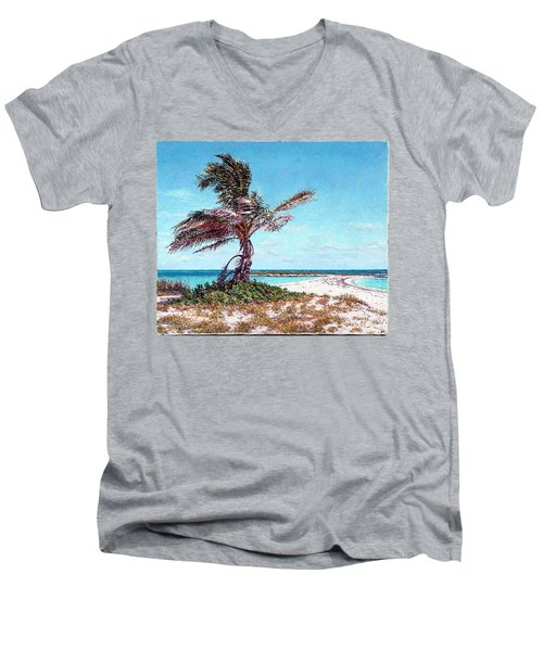 Twin Cove Palm Men's V-Neck T-Shirt