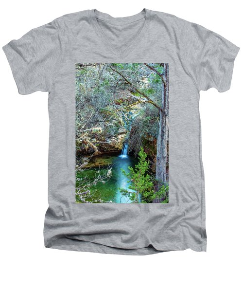 Twin Falls At Peddernales Falls State Park Men's V-Neck T-Shirt by Micah Goff