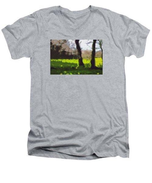 Men's V-Neck T-Shirt featuring the digital art Twin Flames by Spyder Webb