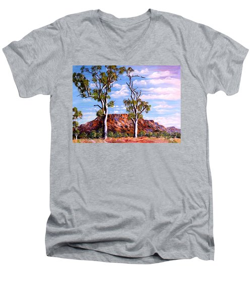 Men's V-Neck T-Shirt featuring the painting Twin Ghost Gums Of Central Australia by Ryn Shell