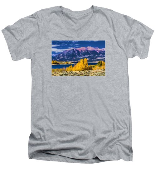Twin Lakes Men's V-Neck T-Shirt by Steven Parker