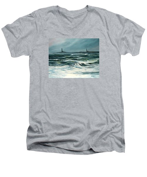 Twin Lights Rockport Ma Men's V-Neck T-Shirt