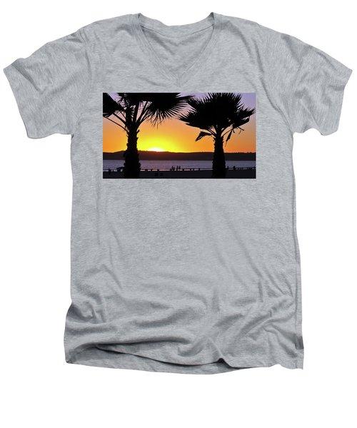Twin Palms At Sunset Men's V-Neck T-Shirt