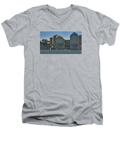 Twin Purdy Towers Of Halifax Men's V-Neck T-Shirt by Ken Morris