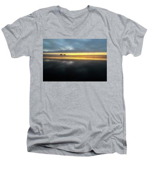 Twin Rocks Sunset Sliver Men's V-Neck T-Shirt