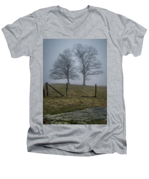 Twin Trees Late Fall Foggy Morning Men's V-Neck T-Shirt