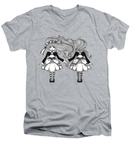 Twins Alice Men's V-Neck T-Shirt by Akiko Okabe