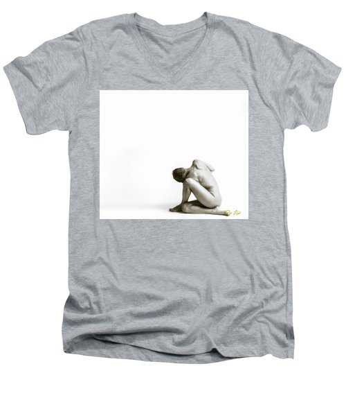 Men's V-Neck T-Shirt featuring the photograph Twisted Figure On White by Rikk Flohr