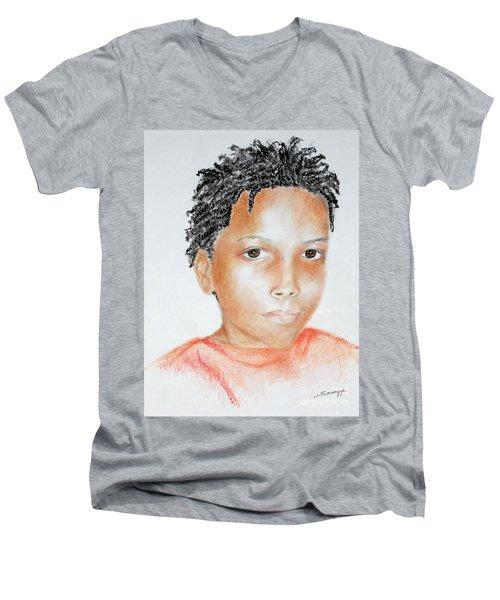 Twists, At 9 -- Portrait Of African-american Boy Men's V-Neck T-Shirt