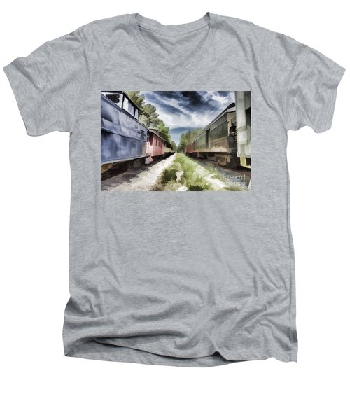 Twixt The Trains Men's V-Neck T-Shirt by Roberta Byram